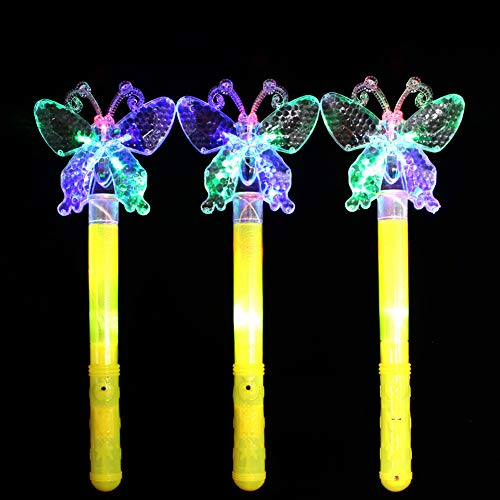 Bluelans Funny LED Flashing Fairy Magic Star Wand Princess Glow Stick Light Up Toy Xmas Gift for Girls Girl Party Favors Party Bag Filler Chistmas Stocking Fillers Butterfly (Chistmas Stocking)