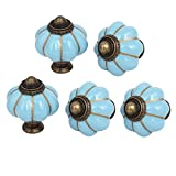 uxcell Ceramic Pumpkin Shape Knob Cabinet Drawer Pull Handle Lake Blue 5pcs