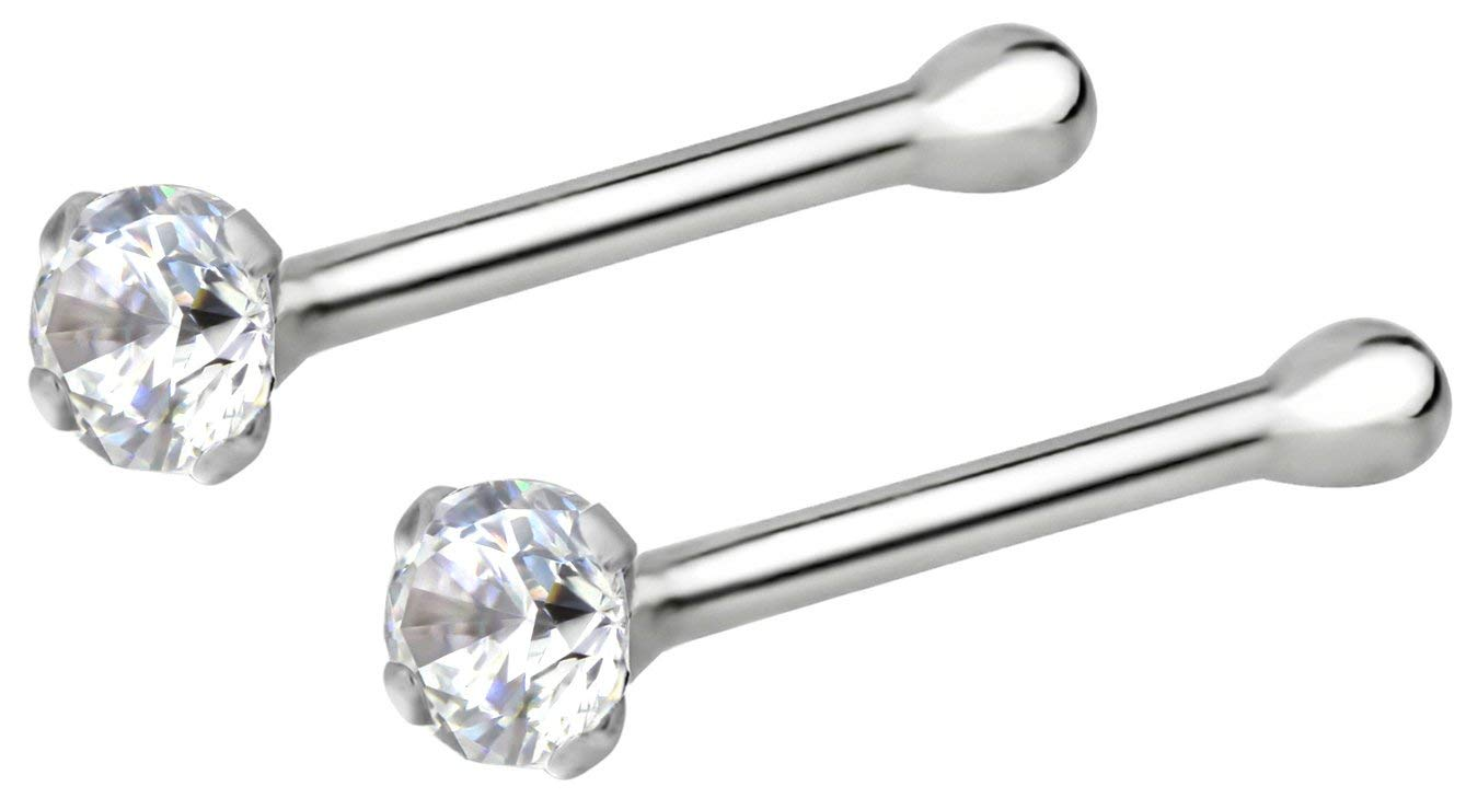 Forbidden Body Jewelry 22g Sterling Silver CZ Simulated Diamond Micro Nose Stud, 1.5mm Crystal, Clr Pair by Forbidden Body Jewelry