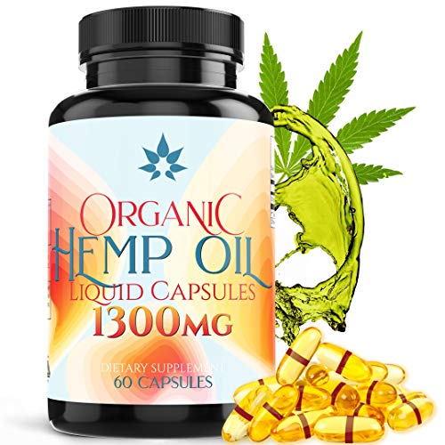 (Premium Hemp Oil Capsules for Pain and Anxiety 1300mg Full Spectrum Hemp Extract - Organic Hempseed Oil Capsules Targets Muscle Aches & Soreness- 60 Pure Hemp Oil Softgels)
