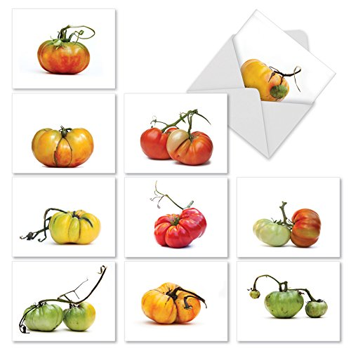 Vegetable Notes - 10 'You Say Tomato' Gratitude & Thank You Cards (w/Envelopes) - Tomato Plant Greeting Cards for Wedding, Baby Shower, Thanksgiving - Boxed All-Occasion Garden Stationery (4 x 5.12 Inch) M2365TYG