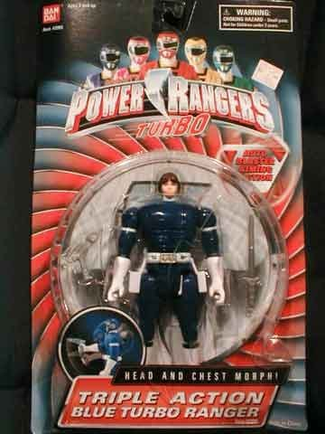 Power Rangers Turbo 1997 Triple Action Blue Ranger Justin MOSC MOC RARE