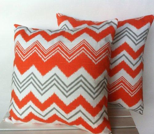 Dos naranja gris diseño a rayas zig zag de cojines, cojín ...