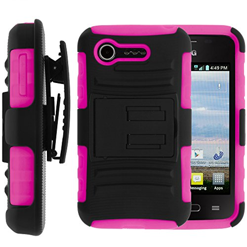 MINITURTLE, 2 in 1 Hybrid Dual Layer Armor Phone Case Cover with Kickstand, Holster Belt Clip, and Screen Protector for Prepaid Android KitKat Smartphone LG Optimus Zone 2 VS415 and LG Optimus Fuel L34C /Verizon, /TracFone Straight Talk (Black / Pink) (Lg Optimus Fuel Prepaid Phone compare prices)