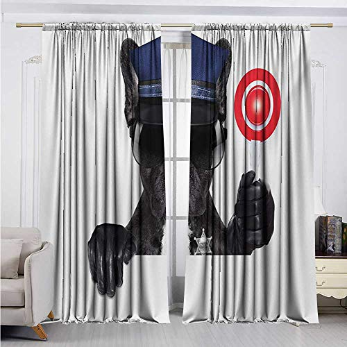 DESPKON-HOME Curtain Extra Long,Police Animal Dog Pug Wears Glasses Thumbs up with Sirens Traffic Police Like Artwork Fashion Darkening Curtains (84W x 72L inch,Blue and Black)
