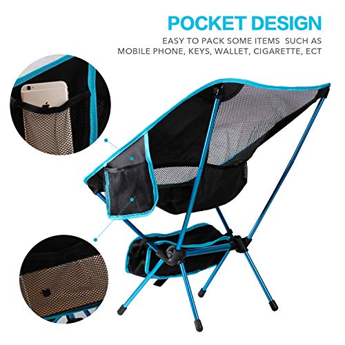 SYOURSELF Portable Folding Camping Chair-Lightweight,Compact,Comfortable,Breathable Beach Travel Mesh Chairs,Heavy Duty-Perfect for Backpacking Hiking Picnic Outdoors Events with Carry Bag Instruction
