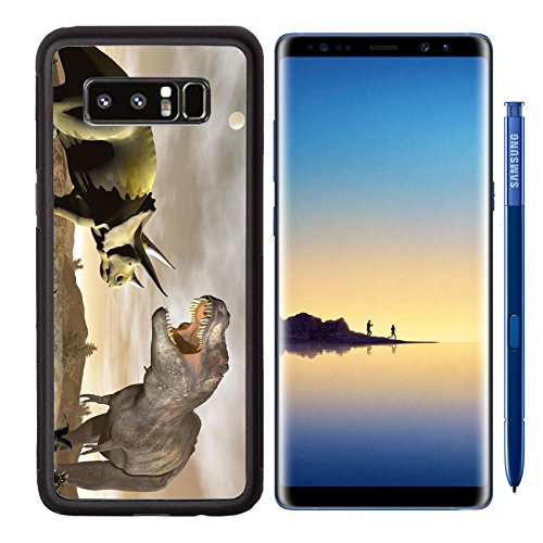 MSD Premium Samsung Galaxy Note8 Aluminum Backplate Bumper Snap Case Image ID 24742869 One tyrannosaurus roaring at triceratops dinosaur in desertic landscape by night