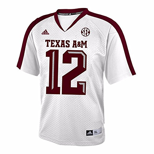 (adidas Texas A&M Aggies NCAA White Official Road #12 Replica Football Jersey for Youth (M))