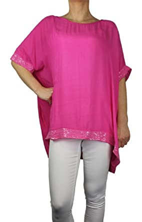 77e2f7e8316 Ozmoint® Womens Ladies Italian Langenlook Quirky Sequin Trim Batwing Tunic  Scoop Neck top Assymetric Blouse One Size (UK 10-16): Amazon.co.uk: Clothing
