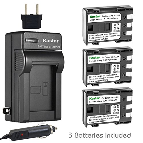 Grip 350d Eos - Kastar Battery (3-Pack) and Charger Kit for Canon NB-2L NB-2LH and Canon PowerShot G7 G9 S30 S40 S45 S50 S60 S70 S80 DC410 DC420 VIXIA HF R10 HF R100 HF R11 EOS 350D 400D Digital Rebel XT Xti