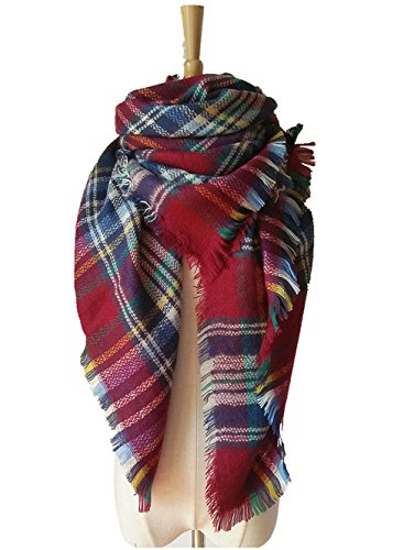 MIGAGA Soft Plaid Blanket Scarf Stylish Large Winter Warm Tartan Pashmina Wrap Shawl (Jujube (Linen Christening Towel)