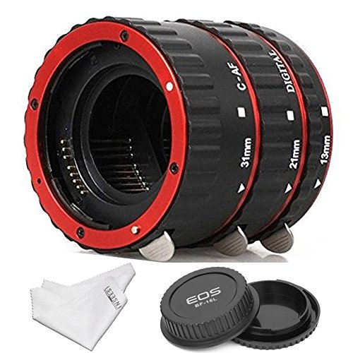 INSEESI Macro Lens Extension Tube+Lens Body and Rear Cap for Canon EOS EF Canon1D 1Ds Series 7D 5D 5DMarkII 5DMark III etc (Extension Tubes Macro Lens)