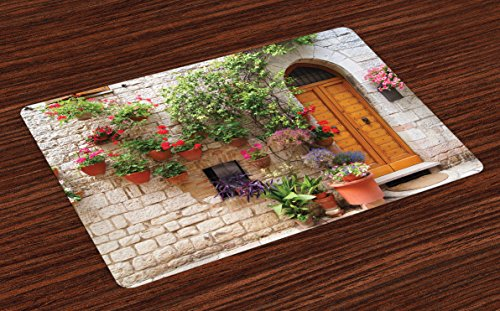 Lunarable Tuscan Place Mats Set of 4, Begonia Blossoms in Box Window Wooden Shutters Brick Wall Romagna Italy, Washable Fabric Placemats for Dining Room Kitchen Table Decoration, Orange White Green