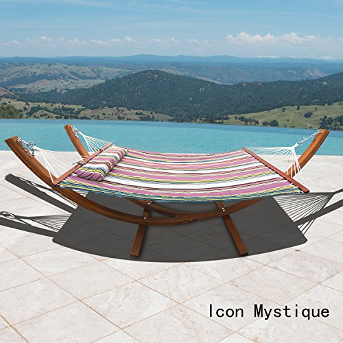 Corvus Silvia Outdoor Sunbrella Double Hammock Set with Stand icon mystique