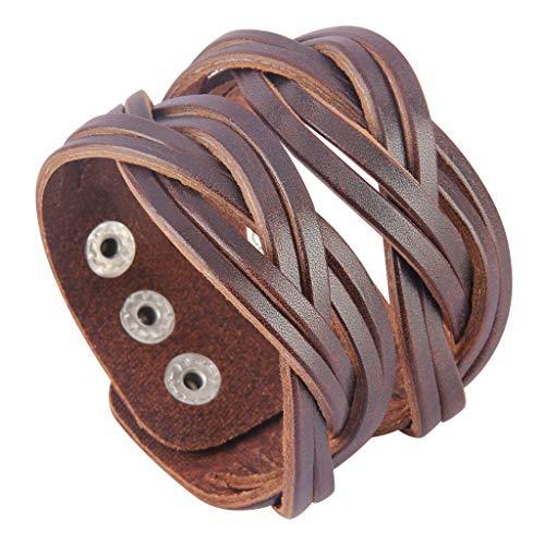 Jenia Genuine Leather Cuff Bracelet Punk Braided Bracelets Rock Leather Wristbands Religious Gothic Adjustable Wrap Bracelet for Men, Boy, Kids, Biker, Women Gifts Brown Leather Cuff Braided Bracelet