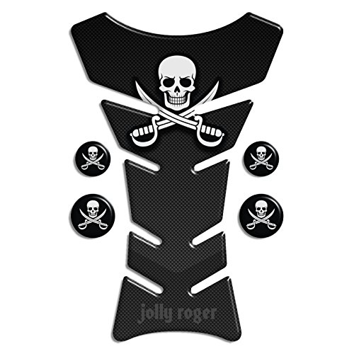 Tank Carbon Look (Motorbike Tank Pad Protector Motorcycle Scratch Pad compatible ' CARBON-LOOK Pirates Jolly Roger ')