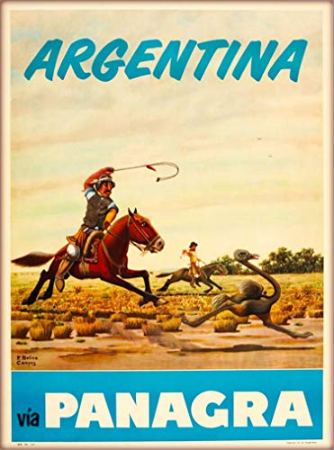 A SLICE IN TIME Argentina via Panagra South America Vintage Airline Travel Advertisement Art Poster Print. 10 x 13.5 inches.
