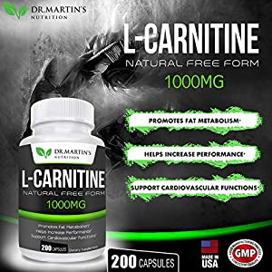 Extra Strength L-Carnitine – 200 Capsules – 1000mg Per Serving – Boost Your Metabolism and Increase Performance