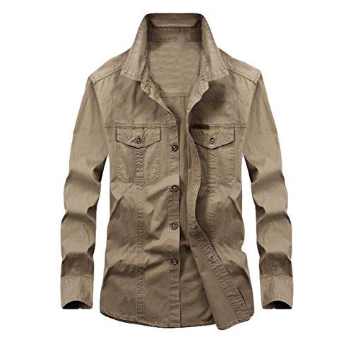 Camicia A Maniche Lunghe Bavero Grandi Cantieri Da Uomo Primavera E Autunno Allentato Camicia Camicia Casual Brown