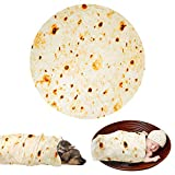 Lhedon Burrito Tortilla Blanket, Food Creations Flannel Blanket Fashionable, Super Soft & Creative Tortilla Blanket for Bed, Couch or Travel (Diam 49 in) (Small)