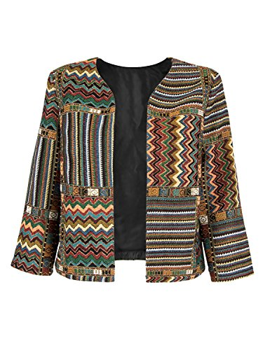 Choies Women Geo-Tribal Ethnic Print 3/4 Sleeve Cardigan Jacket Retro Printed Coat M