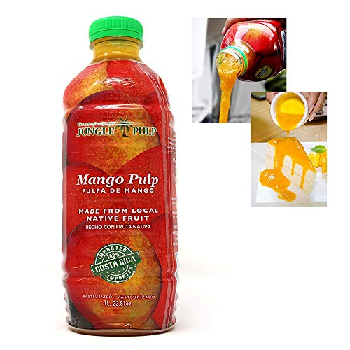 - Jungle Pulp MANGO Puree Mix Pasteurized Fruit from Costa Rica Perfect for Coktails, Desserts, Smoothies and More. 33.81 Ounce / 1 Liter