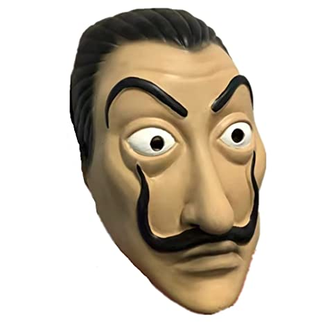 Amazon.com: TJoyfun Salvador Dali Mask La Casa De Papel Cosplay Movie Costume Mask Latex Halloween Accessory: Clothing