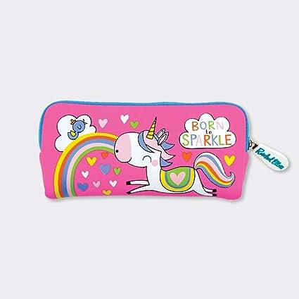 Rachel Ellen Designs - Estuche de neopreno, diseño de unicornio, color rosa: Amazon.es: Oficina y papelería