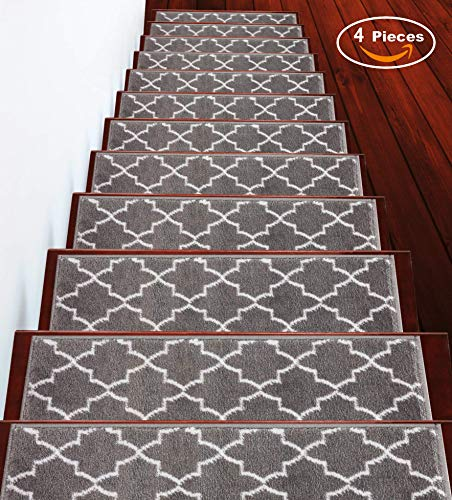 Sussexhome Stair Treads 9 inch by 28 inch Trellisville Collection Contemporary, Cozy, Vibrant and Soft Stair Treads, Gray & White, Pack of 4 [100% Polypropylene]