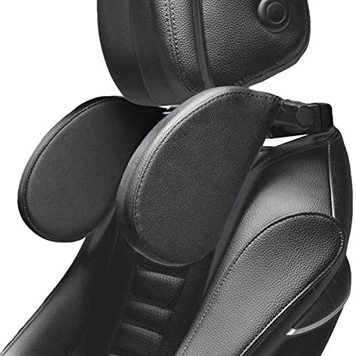 TEEPIRE Car Seat Headrest Pillow, Head Neck Support Detachable,Premium seat held Pillow, 180 Degree Adjustable Both Sides Travel Sleeping Cushion for Kids Adults (Black) (Black)