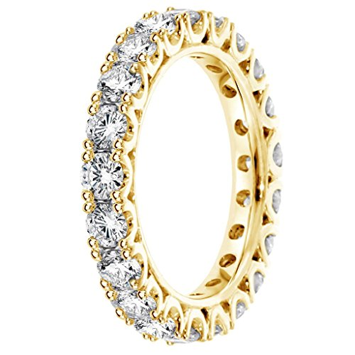 14k Yellow Gold Set Diamond Eternity Anniversary Wedding Band in Fishtail 1