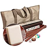 Yellow Mountain Imports American Mahjong Set, Mojave (Ivory) with Brown Nylon Case - Four All-in-One Racks with Pushers, Wind Indicator, Dice, & Wright Patterson Counting Coins