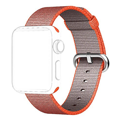 Apple Watch Band, Shielda Woven Nylon Strap Replacement Nylon Band for Apple Watch (42mm Space Orange/Anthracite) (Nylon Spaces compare prices)
