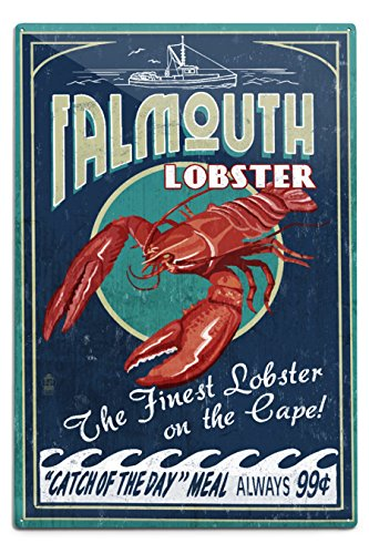 Falmouth, Cape Cod - Lobster Vintage Sign (12x18 Aluminum Wall Sign, Wall Decor Ready to Hang) (Falmouth Cod Cape)