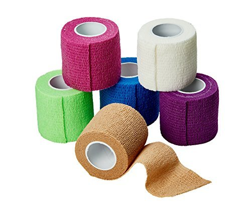 MEDca Self Adherent Cohesive Wrap Bandages 2 Inches X 5 Yards 6 Count, FDA Approved (Rainbow Color) (Adhering Foam Self)