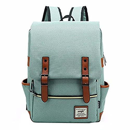 OURBAG Unisex Vintage Casual Sport Backpack Laptop Handbag Business Rucksack Travel Daypacks Green light green