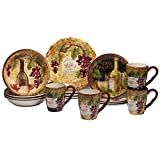 Certified International 89118 Gilded Wine 16 pc. Dinnerware Set, Service for 4, Multicolored
