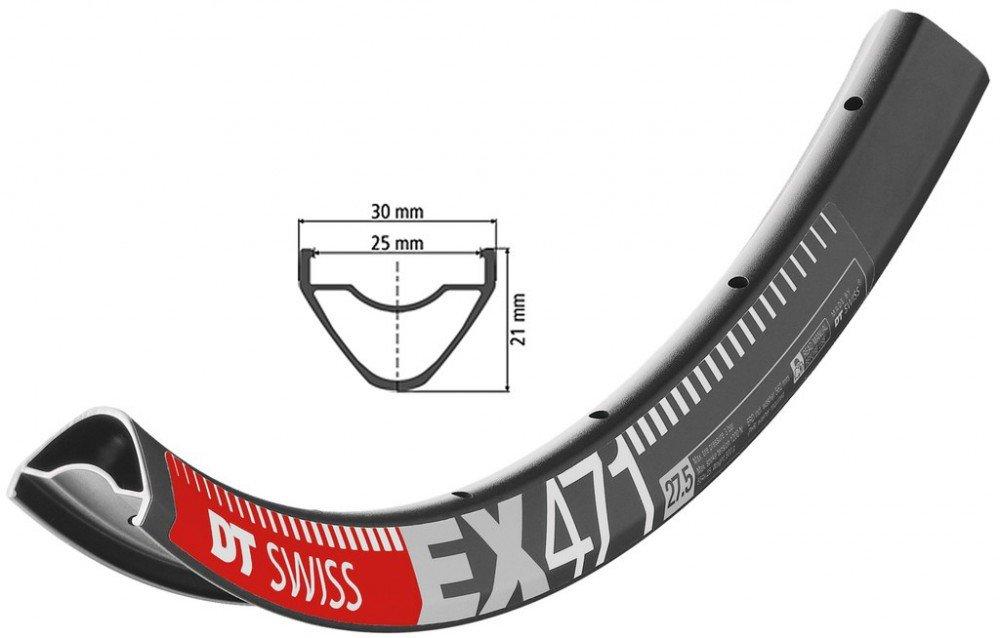 Fahrrad Felge DT Swiss EX 471 27,5' schwarz 584-25 VL 6,5mm 32 Loch