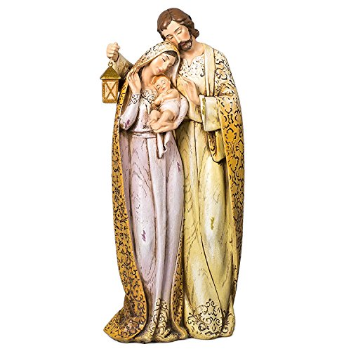 (Embroidered Robe Holy Family 10 inch Resin Stone Christmas Nativity Figurine)