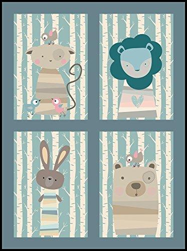 Kinderzimmer Bilder Set Tiere im Wald No2 (DIN A4)