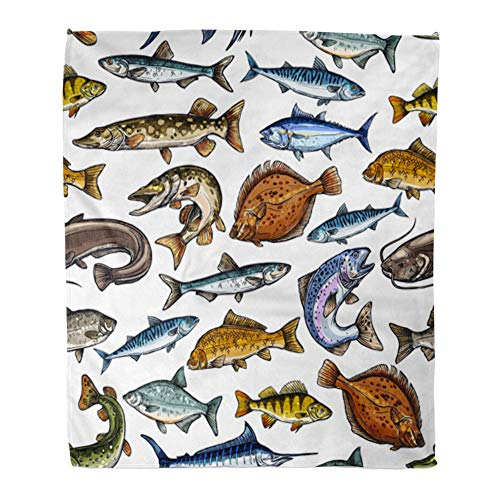 Emvency Throw Blanket Warm Cozy Print Flannel Sea and Freshwater Fish Blue Marlin Tuna Salmon Trout Mackerel Pike Perch Comfortable Soft for Bed Sofa and Couch 60x80 -