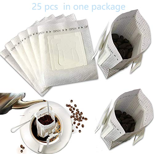 LiXiongBao Premium Single Serve Food Grade Disposable Hanging Ear Drip Coffee Filter Bag, Tea Strainer & Filter Portable use for the home, outdoor, travel, camping, office, and on the go (25 Pack)