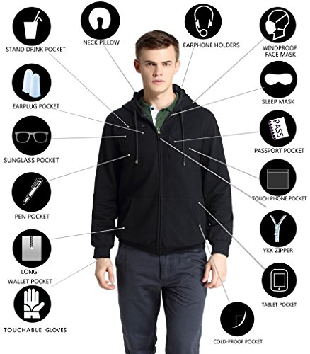 XY37 Men Travel Jacket Hoodie 10 Pockets Travel - Motorcycle Travel Gloves