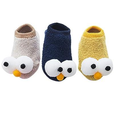Exttlliy 3 Pack Coral Fleece Baby Cute Anti Slip Socks Cartoon Big Eyes for Unisex Newborn Infant Sock (S 0-6 Months) : Baby