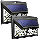 LITOM Enhanced Version Solar Lights Outdoor, 24 LED Super Bright Plating Solar Lights with Motion Sensor, Solar Powered Security Wall Lights for Front Door, Yard, Garage, Deck, Porch(2 Pack)