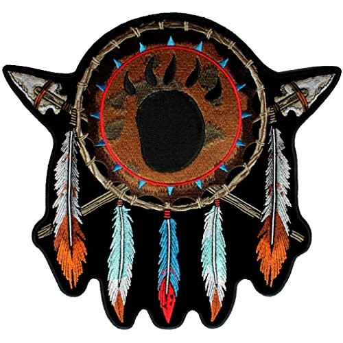 Leather Supreme Native American Indian Feathers, Bear Paw Design Biker ()