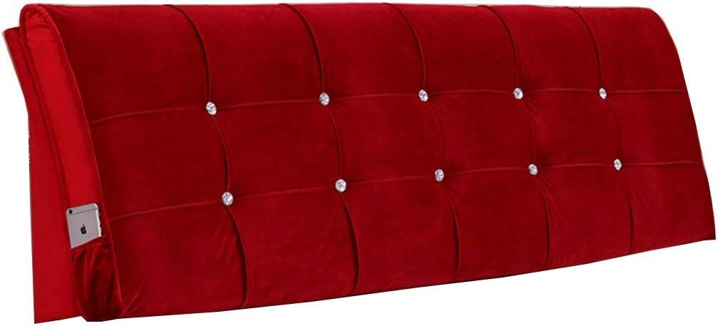 Solid Color Upholstered Headboard Sponge Upholstery Bedside Backrest Support Wedge Reading Pillow Cushion (Color : H, Size : 1505810CM)