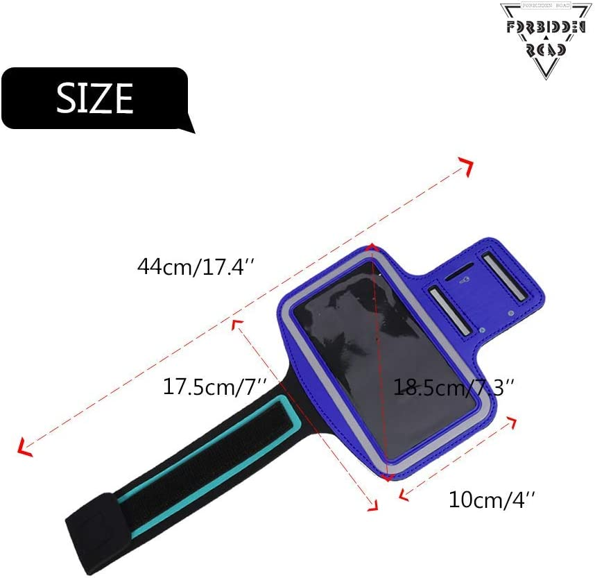 Blue FORBIDDEN ROAD Running Armband 10 Colors Sport Armband for Walking Gym Workout Arm Band with Earphone Key Holder Water-Resistant Phone Case for iPhone 6//7 Galaxy S7 Edge Note 4