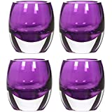 "Hosley's Set of 4 Purple Chunky Glass 3"" High, Tea Light Holders - Jumbo Pack. Ideal for Weddings, Parties"