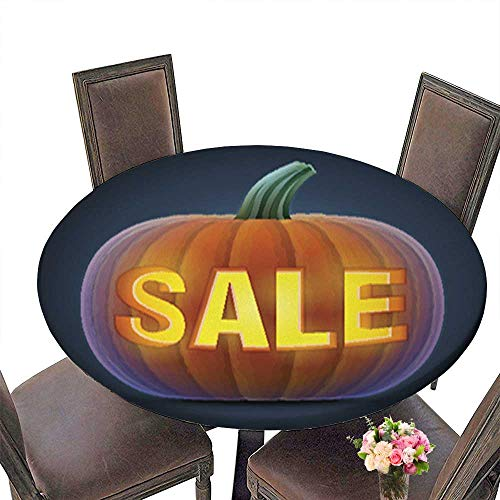 Fitted Polyester Round Tablecloth,Halloween Pumpkin with Carving Washable for Tablecloth up to 59.5